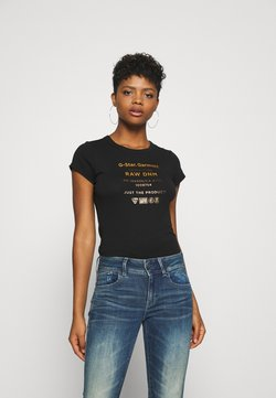 G-Star - WASH SLIM - T-shirt print - black
