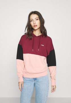 Fila - SANJA CROPPED HOODY - Sweat à capuche - tawny port/black/coral cloud