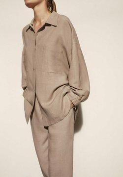 Massimo Dutti - MIT AUFGENÄHTEN TASCHEN 06006706 - Koszula - beige