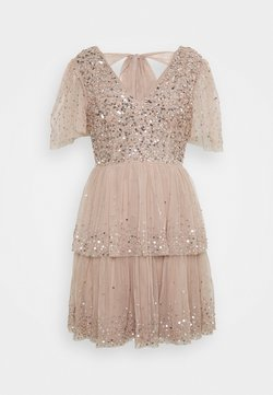 Maya Deluxe - EMBELLISHED TIERED MINI DRESS WITH TIE BACK - Cocktailkleid/festliches Kleid - taupe blush