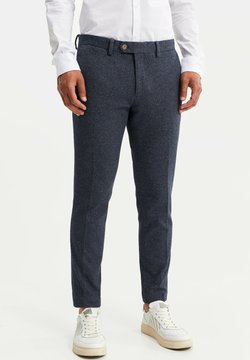 WE Fashion - HEREN SLIM FIT PANTALON - Tygbyxor - dark blue