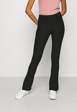 New Look - SPLIT FRONT FLARES - Leggings - Hosen - black
