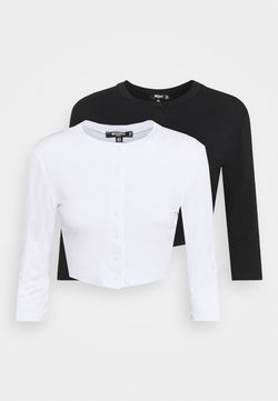 Missguided Petite - BUTTON FRONT LONG SLEEVE CROP 2 PACK - Maglietta a manica lunga - black/white