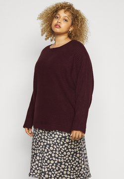 New Look Curves - EXPOSED SEAM CASH BAWTING - Strickpullover - dark burgundy
