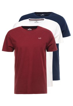 Hollister Co. - 3 PACK  - T-shirt con stampa - white/burgundy/navy