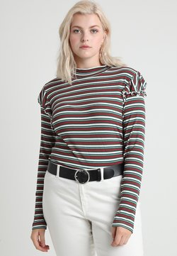 Urban Classics Curvy - LADIES STRIPED TURTLENECK - Langarmshirt - white/green/firered