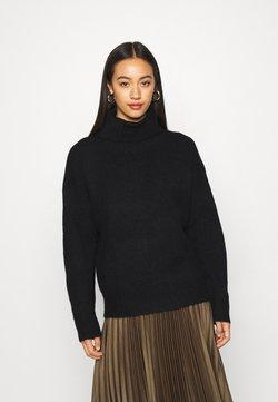 Even&Odd - BASIC-TURTLE NECK OVERSIZED - Stickad tröja - black