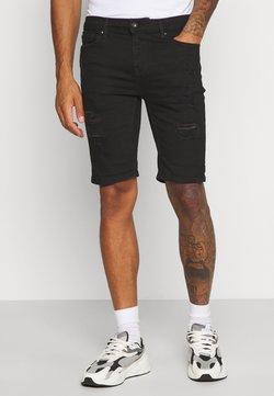 Topman - SOLID SPRAY ON - Jeansshort - black