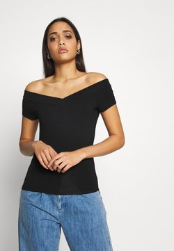 Pieces - PCMALIVA OFF SHOULDER V-NECK - T-Shirt basic - black
