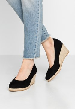 Evans - WIDE FIT FYDE HESSIAN WEDGE SHOE - Sleehakken - black