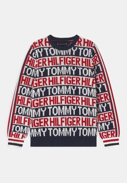 Tommy Hilfiger - ALLOVER  - Maglione - off-white/dark blue/red