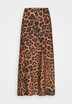 New Look - GEORGIE ANIMAL BIAS MIDI - Falda acampanada - brown