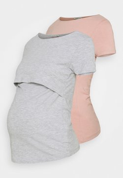 Anna Field MAMA - 2 PACK  - T-shirt - bas - light grey/light pink