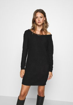 Missguided - AYVAN OFF SHOULDER JUMPER DRESS - Neulemekko - black
