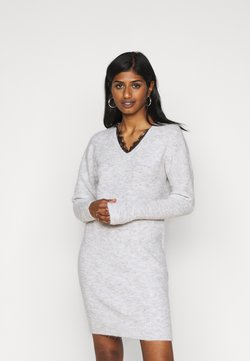 Vero Moda Petite - VMIVA V NECK DRESS - Vestido de punto - light grey melange/black