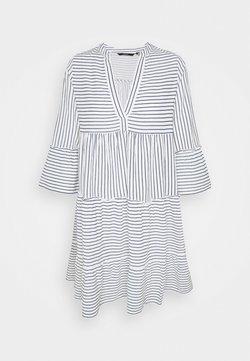 Vero Moda Tall - VMHELI 3/4 SHORT DRESS TALL - Freizeitkleid - snow white/navy blazer
