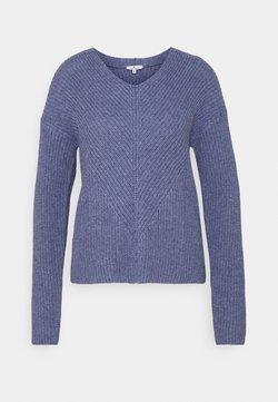 TOM TAILOR - CHUNKY V NECK - Maglione - blueberry blue melange