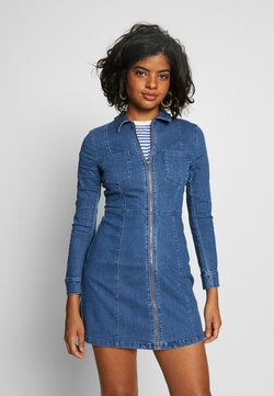 Noisy May - NMLISA ZIP DRESS - Denim dress - medium blue denim