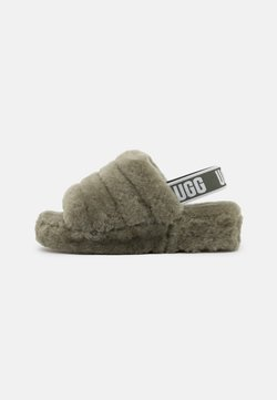 UGG - FLUFF YEAH SLIDE - Korkeakorkoiset sandaalit - burnt olive