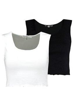 Missguided - SLEEVELESS LETTUCE CROP 2 PACK - Débardeur - black/white