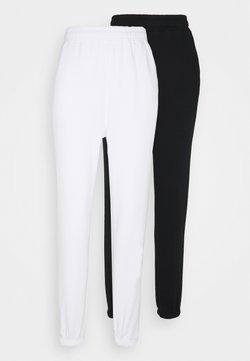 Even&Odd - 2 PACK - Loose fit Joggers - Jogginghose - black/white