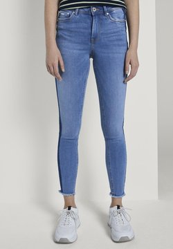 TOM TAILOR DENIM - MIT STREIFEND - Jeans Skinny Fit - mid stone blue denim