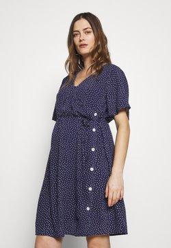ohma! - NURSING DOTTED DRESS CROSSED WITH BUTTON - Skjortklänning - navy