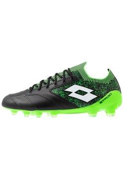 Lotto - STADIO 100 II FG - Voetbalschoenen met kunststof noppen - all black/all white/spring green