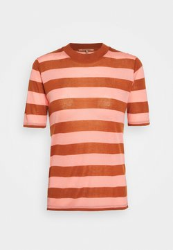 Scotch & Soda - STRIPED TEE WITH HIGH NECK - T-Shirt print - brown/pink