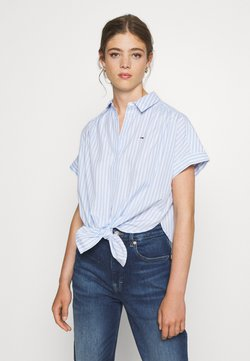 Tommy Jeans - STRIPE KNOT BLOUSE - Camisa - white/moderate blue