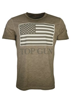 TOP GUN - MIT US-FLAGGE SEARCH - T-shirt print - tabacco