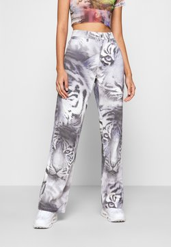 Jaded London - TIGER FADE PRINT SLOUCHY FIT - Jeans Straight Leg - blue