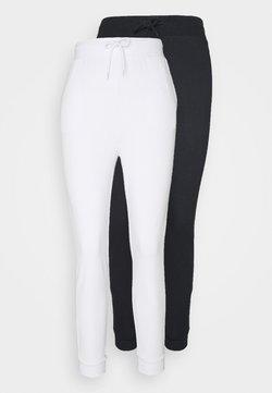 Even&Odd - 2er PACK - Slim fit joggers - Jogginghose - black/ white
