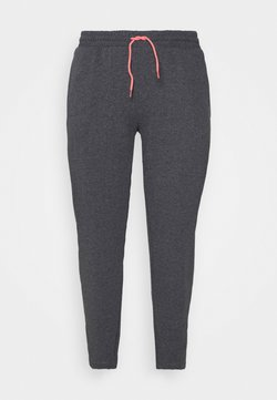 ONLY Play - ONPJOLIVIA BAGGY PANTS CURVY - Verryttelyhousut - dark grey melange/white/coral