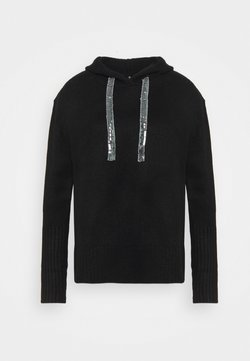 CAPSULE by Simply Be - HOODY WITH SPARKLE TIE - Maglione - black