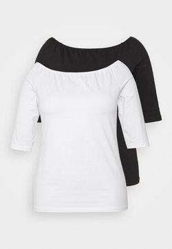Even&Odd Curvy - 2 PACK - T-Shirt basic - white/black