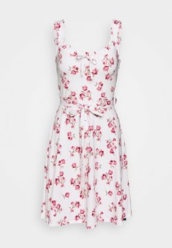 Dorothy Perkins - FLORAL RUFFLE FIT AND FLARE - Jerseykleid - cream