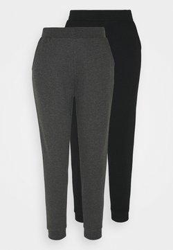 Even&Odd - 2 PACK - Jogginghose - black/mottled dark grey