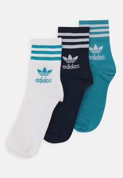 adidas Originals - MID CUT UNISEX 3 PACK - Socken - white/dark blue