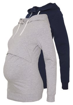 Anna Field MAMA - 2 PACK NURSING HOODIE - Huppari - light grey/dark blue