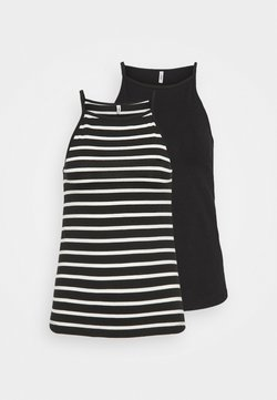 ONLY Tall - ONLMAY LIFE STRIPE 2 PACK - Top - black/black with cloud dancer