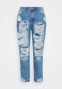 Missguided Plus - PLUS RIOT DISTRESSED - Jean slim - blue