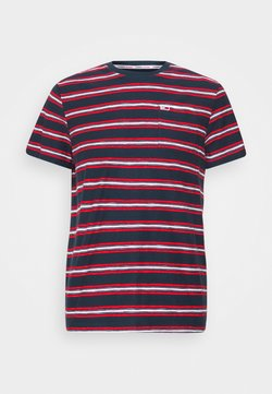 Tommy Jeans - STRIPE TAB TEE - Print T-shirt - twilight navy