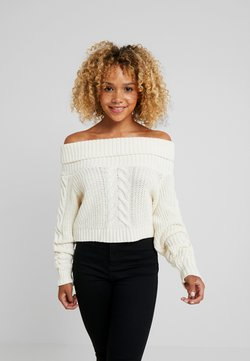 Missguided Petite - BARDOT CABLE CROP JUMPER - Strickpullover - cream