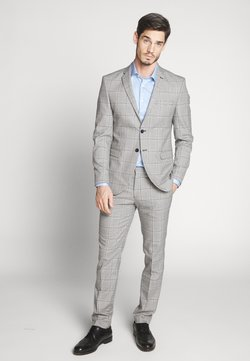 Selected Homme - SLHSLIM EMIL CHECK SUIT - Puku - light gray/blue