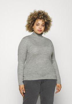 Selected Femme Curve - SLFCOSTIA ROLLNECK - Strikpullover /Striktrøjer - light grey melange