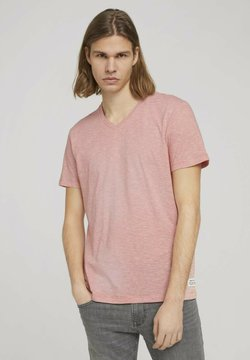 TOM TAILOR DENIM - T-Shirt print - orange white yd melange stripe