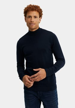 WE Fashion - MET OPSTAANDE BOORD - Strickpullover - dark blue
