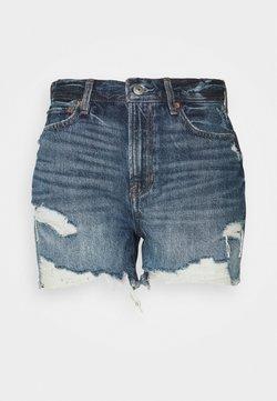 American Eagle - BOYFRIEND MID LENGTH - Denim shorts - dark blue