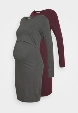 Anna Field MAMA - 2 PACK NURSING DRESS - Trikoomekko - grey/bordeaux